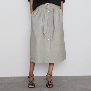 🆕 Faux Leather Midi Skirt